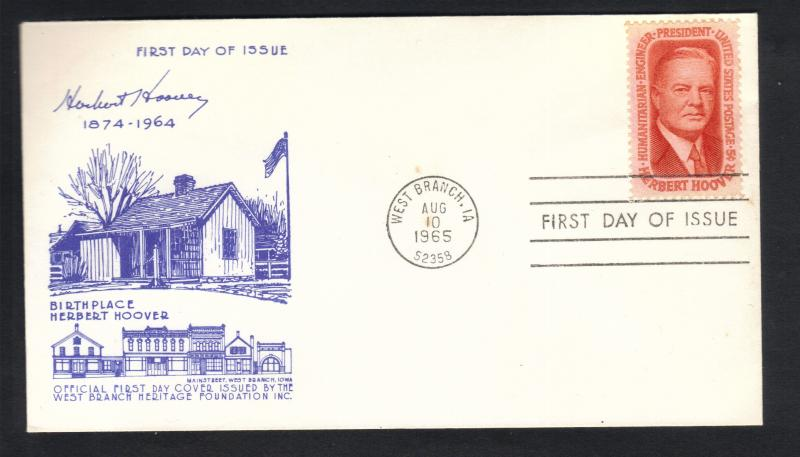 1965 FDC Birthplace Of Herbert Hoover Aug 10,1965