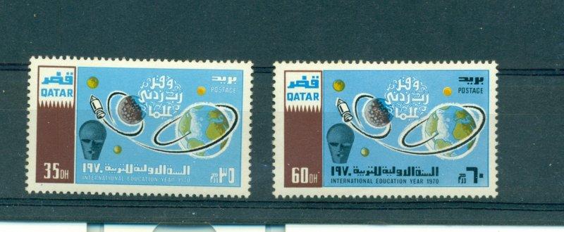 Qatar - Sc# 212-3. 1970 Education Year. MNH $12.00.