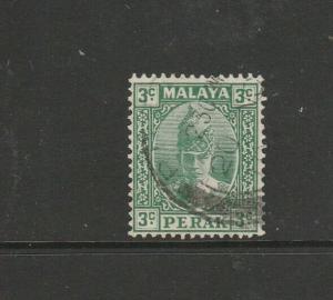 Malaya Perak, 1938/41 3c Green, Used SG 106/a