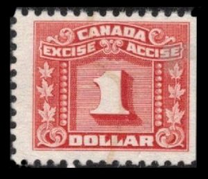 CANADA REVENUE VINTAGE 1934 $1. RED VF USED #FX84 SCARCE EXCISE TAX STAMP