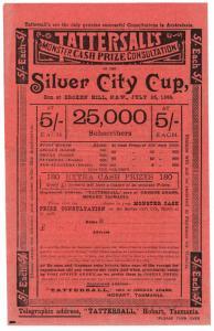 (I.B) Australia Cinderella : Tattersall's Ticket 5/- (Broken Hill 1899)