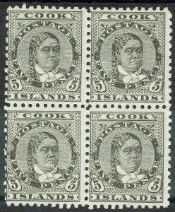 COOK ISLANDS 1893 QUEEN 5D */** BLOCK WMK STAR NZ SG W12B PERF 11