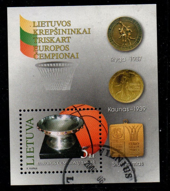 Lithuania Sc 756 2003  Basketball Champions  stamp sheet used