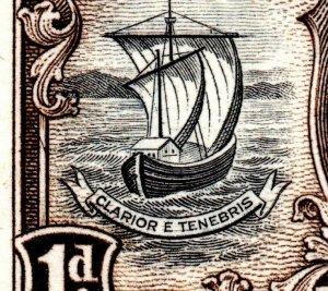 1938 Grenada Sg 154b 1d 'Lines Through Motto (R9/2)' Unmounted Mint