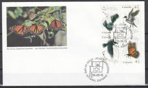 Canada, Scott cat. 1563-1566. Migratory Wildlife issue. First day cover. ^