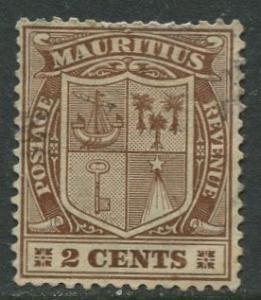 Mauritius - Scott 138 - Coat of Arms -1910 - Used - Single 2c Stamp