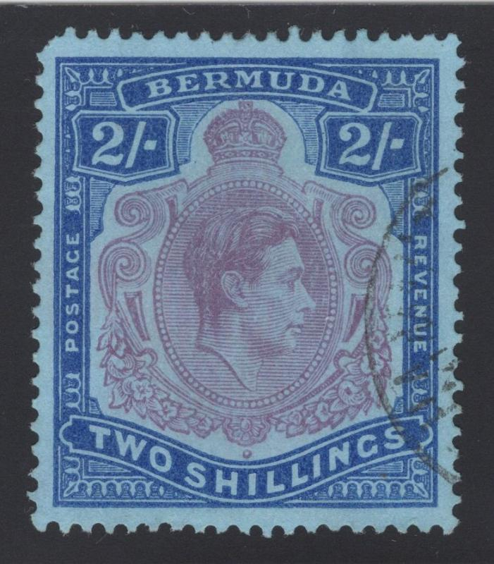 Bermuda #123 - 2 Shilling - Ultra & Red Violet on Blue - Used
