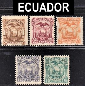 Ecuador Scott 12-13, 15-17  F to VF mint OG H, HR or HHR.