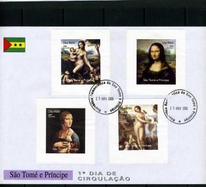 Sao Tome & Principe 2005 Leonardo Da Vinci Deluxe s/s Imperforated in FDC