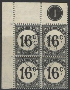 TRINIDAD SGD32 1947 16c BLACK POSTAGE DUE FINE USED BLOCK OF 4