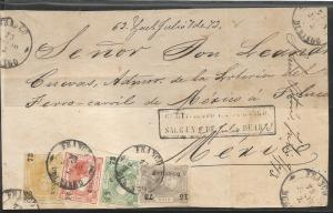 J) 1872 MEXICO, IMPERFORATED, 100 CENTS GRAY LILA, SALTILLO, IN COMBINATION WITH