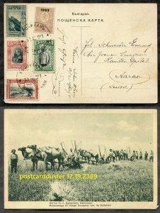 2389 - BULGARIA 1911 Five Values on TURKEY Farming Postcard to SWITZERLAND