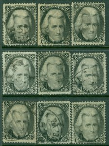 EDW1949SELL : USA 1863 Sc #73. 9 stamps Used w/ light cancels. Pretty. Cat $585.