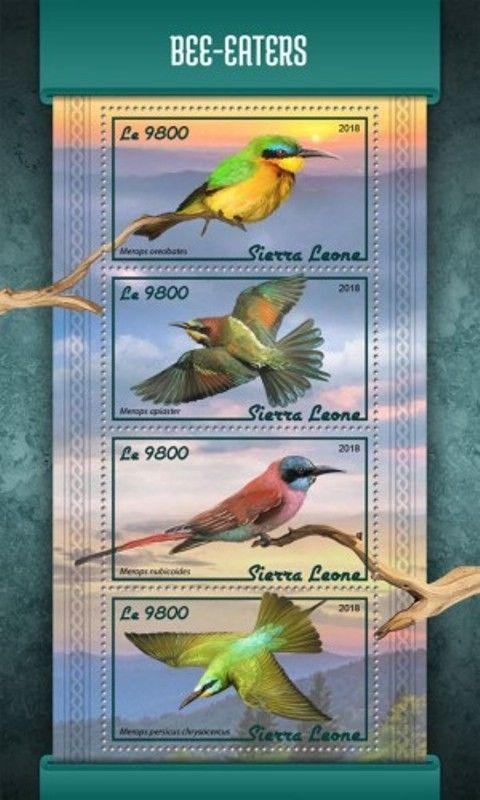 Sierra Leone - 2018 Bee-eaters on Stamps - 4 Stamp Sheet - SRL18113a