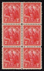 US STAMP #643 – 1927 2c Vermont Sesquicentennial  MNH/OG BLK OF 6 FRESH