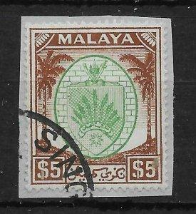 MALAYA NEGRI SEMBILAN SG62 1949 $5 GREEN & BROWN USED ON PIECE