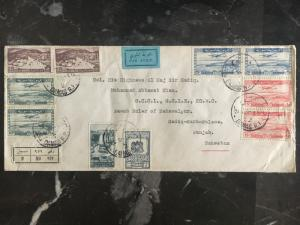 1950 Damascus Syria cover to Punjab Pakistan Airmail Registered