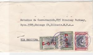 Costa Rica 1963 10c Overprints Tilaran Cancels 3x Stamps Cover to USA Ref 25734