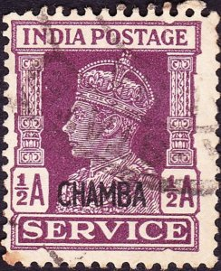 INDIA CHAMBA 1943 KGVI 1/2a Purple 'Service' SGO74 FU