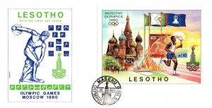 Lesotho, Worldwide First Day Cover, Olympics
