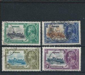 MALTA 1935 SILVER JUBILEE SET FU SG 210/213 CAT £45