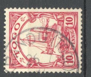 Togo 1900 Yacht 10 Pfg. KPANDU a, ARGE 450.00 Euros (net on piece), exp.