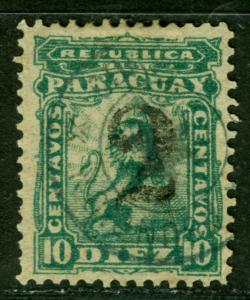 PARAGUAY 1881 LION & CAP  2c on 10c blue green - gray surcharge - Sc# 18 used VF