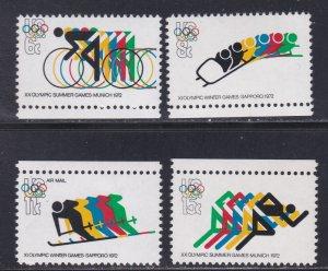 United States # 1460-1462, C85, Munich Summer Olympics, NH