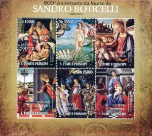 Sao Tome & Principe 2010 BOTICELLI Paintings Sheet Perforated Mint (NH)