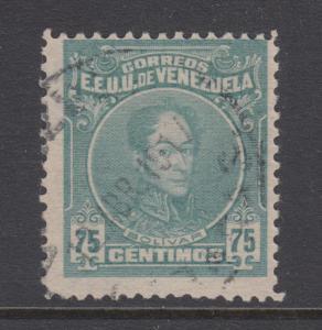 Venezuela Sc 267a used. 1915 75c greenish blue Bolivar