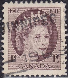 Canada 337 USED 1954 Queen Elizabeth II, Wilding Portrait 1¢
