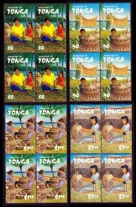 Tonga 2002 Weaving Sg1527/Sg1530 2x2 Blocks MNH