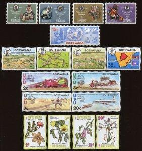 Botswana Sc# 58-61, 62-65, 66, 106-09, 110-13, 128-31. MNH 2017 SCV $24.05