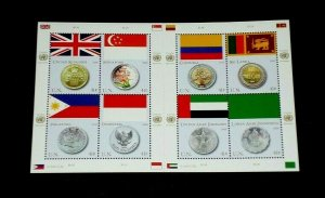 U.N. NEW YORK #953, 2008, FLAG AND COIN, SHEET OF 8 , MNH,  NICE!! LQQK!!!