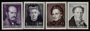 Austria 746-9 MNH Famous People, Bertha von Suttner, Ferdinand Raymond