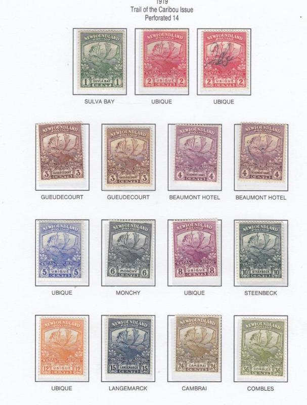NFLD LOT# 115-126 VF-MLH+ EXTRA SHADES TRAIL OF THE CARIBOU CAT VALUE $420
