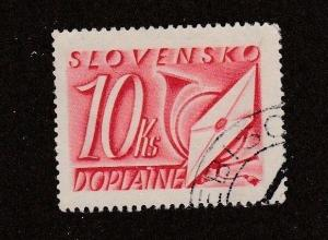 Slovakia, stamp, Scott# J38,used,  red and white,10 ks,  #M457