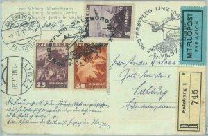 83127 - AUSTRIA - Postal History - SPECIAL  GLIDER FLIGHT: Linz - Salzburg  1937