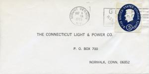 U.S. Scott U544 Illegally Used as Stamp on Billing Envelope