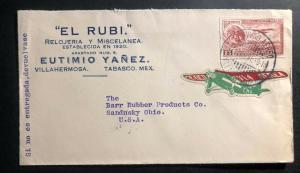 1931 Villahermosa Mexico Airmail Commercial Cover to Sandusky Oh USA CMA