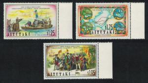 Aitutaki 500th Anniversary of Discovery of America by Columbus 3v margins