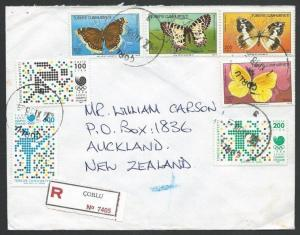 TURKEY 1988 Reg cover to New Zealand, Butterfly set and min.sheet..........49158