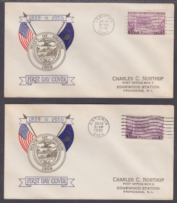 US Planty 783-19 FDCs. 1936 3c Oregon Territory, All 5 First Day Cities