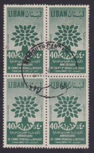 Lebanon Airmail # C285 World Refugee Year , F-VF used Block of 4 - I Combine S/H
