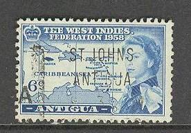 ANTIGUA Sc# 123 USED FVF Caribbean Sea Map West Indies