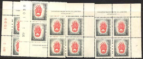 Canada - 1956 5c Prevent Fires Plate Blocks mint #364