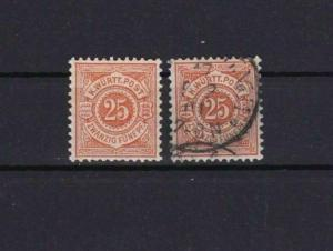 WURTTEMBERG 1890 25 PF ORANGE/YELLOW MM £550 & DEEP ORANGE USED STAMPS R 2081
