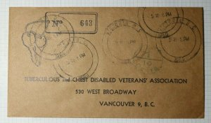 TB Disabled Veterans CA Canada Charity Return Envelope Postage Due 10c Cancel