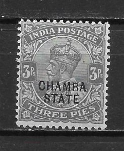 India Chamba 32 3a Edward VII single Unused Lightly Hinged