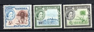Gambia QEII 1953 5/- 10/- & £1 mint LHM & MNH #183-185 WS13875